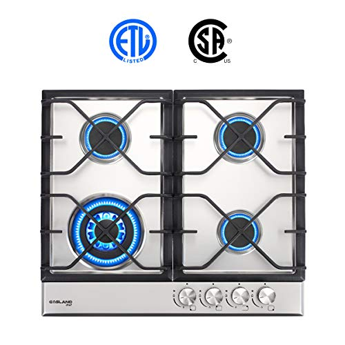 (Gas Cooktop, Gasland chef GH60SF 24'' Built-in Gas Cooktop, Stainless Steel LPG Natural Gas Cooktop, Gas Stove Top with 4 Sealed Burners, ETL Safety Certified, Thermocouple Protection)