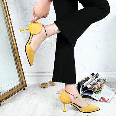 Perla confort vestimenta 3 pulg confort Amarillo mujer Primavera UK5 talón CN38 2 2A Tacones imitación EU38 US7 PU 5 Stiletto Negro Verano 4 casual 5 q0zwUaX