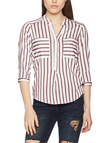 VERO MODA Vmerika Stripe 3/4 Shirt E10 Noos, Blouse Femme, Multicolore (Snow White), 36 (Taille Fabricant: Small)