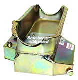"""NEW SOUTHWEST SPEED RACING SMALL BLOCK CHEVY OIL PAN, SBC MELLING HIGH VOLUME OIL PUMP, & PICKUP, 8 QUART 7"""" DEEP, KICKED-OUT SUMP, 5 TRAP DOORS, BRIGHT ZINC PLATED STEEL CONSTRUCTION, FOR PRE-1986 2 PIECE REAR MAIN SEAL SBC ENGINES"""