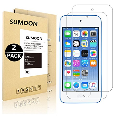 [2 Pack] SUMOON [Tempered Glass] Screen Protector for iPod Touch 6G (6th Generation) / 5G (5th Generation), [0.2mm Ultra Thin 9H Hardness 2.5D Round Edge] with Lifetime Replacement Warranty (Ipod Cover For 5th Generation)