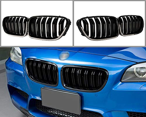 GY Tuning ABS Double-slat Gloss Black Front Bumper Grille for BMW 5 Series F10 F11 F18 M5 2010-2017