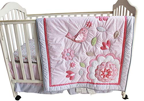 - New Baby Girls Happy Bird Pink 8pcs Crib Bedding Set with musical mobile