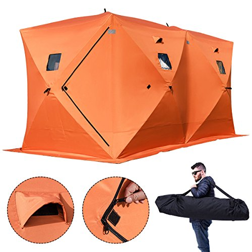 Fishing Shelter Ice House - Popsport 2/3/4/8 Person Ice Fishing Shelter Tent 300d Oxford Fabric Portable Ice Shelter Strong Waterproof Ice Fish Shelter for Outdoor Fishing (Orange)