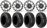 Bundle - 9 Items: STI HD6 14'' Wheels Machined 30'' Kanati Mongrel Tires [4x156 Bolt Pattern 12mmx1.5 Lug Kit]