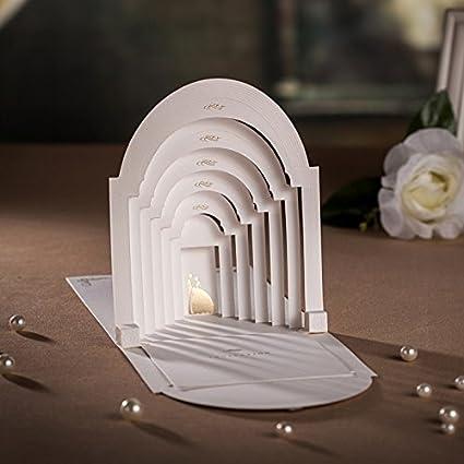 "Designer Laser Cut 3D Pop up ""Wedding in the Church"" White Wedding Invitation Cards, FREE matching envelop /insert card /seal (50): Amazon.co.uk: Kitchen & ..."
