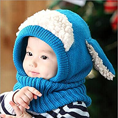 Saingace 1PC Winter Baby Kids Girls Boys Outdoor Keep Warm Woolen Coif Hood Scarf Caps Hats For 6 Months to 36 Months Baby