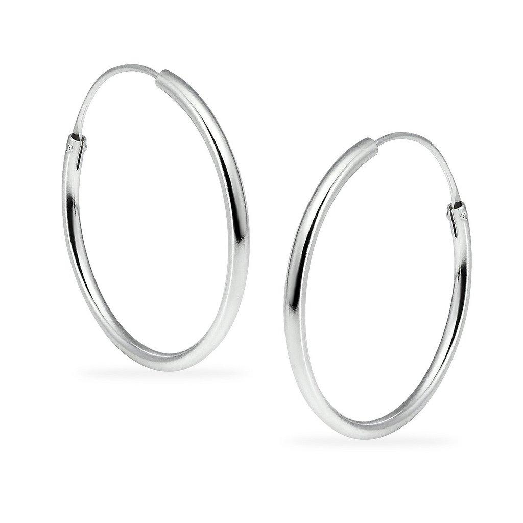Silverline Jewelry Sterling Silver Endless Round Unisex Hoop Earrings Size 24mm