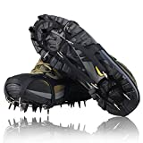 YUEDGE Universal 18 Steel Teeth Anti-Slip Ice And Snow Traction Cleats Safe Protect Shoes(L)