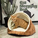 Allisandro Pets Bed Round Burrow Cat Bed Soft Fleece Cat Sleeping Bed Cave for Cat Puppy Rabbit Small Animals