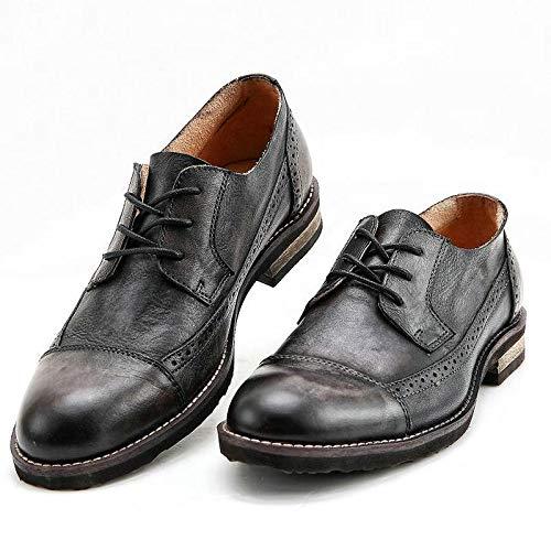 Zapaños Plaños de Cuero Hombre Do Old Old zapatos Hechos a Maño de Cuero de Vaca Bullock Tallar Patrones Oxford Zapaños hombres Zapaños para hombres negro