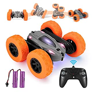 RC Cars Stunt Car Toy, Remote Control Kids Toy Car, 4WD 2.4GHz Double Sided Rotating 360°Flips Vehicles, Toys Gifts for Kids Boys Girls (Grey)