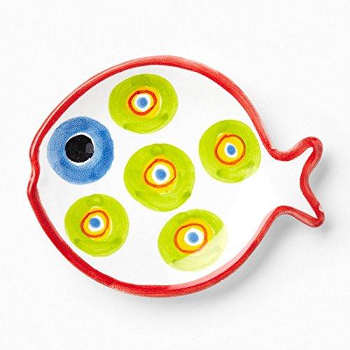 Vietri Green Circle Fish-shaped Plate