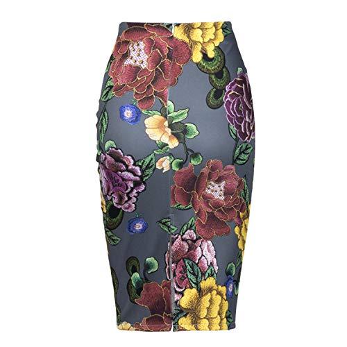 Florale Moulante Femme mi Longue Moulante C1805015 Jupe Fausse Jupes Haute Fourreau Broderie Taille Femme en Saias rvzSY8vq