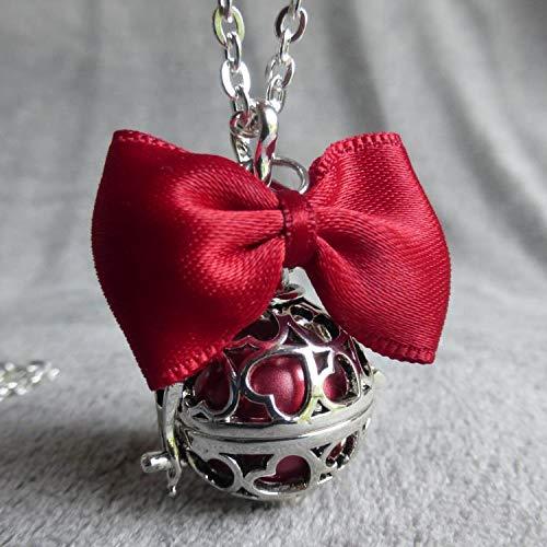 Bola de Grossesse avec chaine Bagus cage argent/ée coeur PERSONNALISABLE noeud rouge et deux minis ailes bille rouge iris/ée