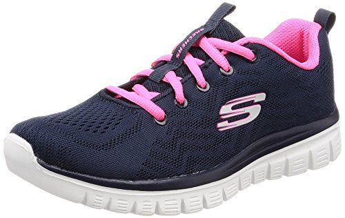 Get Skechers Connected para Hot Azul Zapatillas Mujer Graceful Pink Navy BFnFfr5