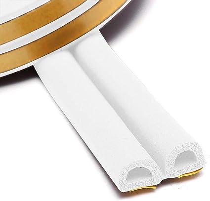 YuamMei 4 tiras de goma para ventana blanco cinta autoadhesiva de espuma cinta aislante de colisi/ón para puerta ventana y bloqueador de viento