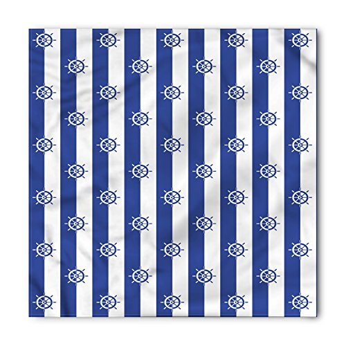 (Lunarable Ships Wheel Bandana, Sailor Stripes Breton with Silhouettes of Ship's Wheels Classic Artwork, Printed Unisex Bandana Head and Neck Tie Scarf Headband, 22 X 22 Inches, Royal Blue White)