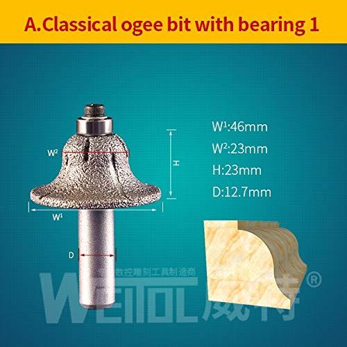Diamond Bit Router 2 Cm - 1 piece WeiTol 12.7mm shank diamond profile router bit Marble Grinding Edge router bit cutting milling cutter