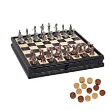 WE Games Golf Chess & Checkers Game Set - Pewter Chessmen & Black Stained Wood Board with Storage Drawers 15 in.