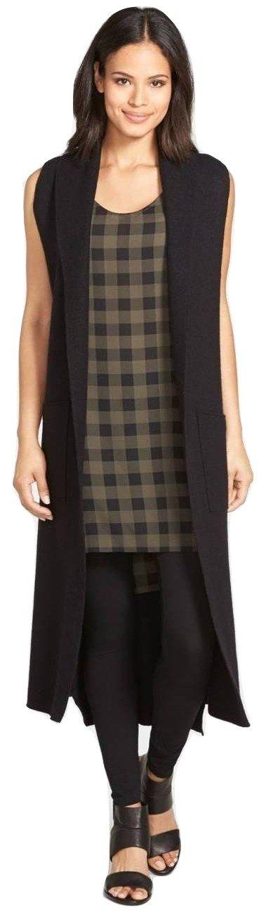 Eileen Fisher Women's Boiled Wool Kimono Vest Black Size Small