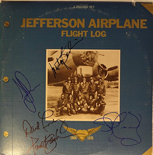 Signed Jefferson Airplane Autographed Flight Log LP By 5 w/Pics Nice! ()