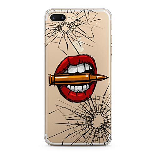 Lex Altern TPU iPhone Case X Max Xr 8 Plus 7 6s 6 SE 5s 5 Xs Clear Apple Phone Red Lips Cover Print Lightweight Bullet Protective Transparent Flexible Girl Women Silicone Cracked Graphic Shot Glass ()