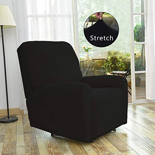 Fancy Linen Sure Fit Stretch Sterling Recliner Slipcover Solid Black New # -