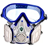 Silicone Full Face Respirator Paint Spray Chemical Gas Mask Breathing Protection Against Dust Pollen with Safety Goggles
