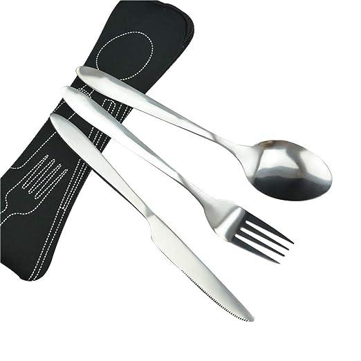 Leisial 3 piezas Juegos de Cubiertos Cuchillos, Tenedores, Cucharas Acero Inoxidable Cubiertos de Viaje Portátil para Camping Viaje - con Bolsa