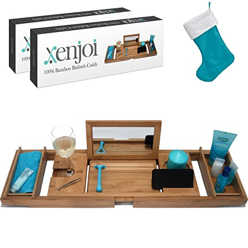 - THIS ONE HAS A MIRROR - Our Luxury Bamboo Bathtub Tray / Bathtub Caddy with MIRROR also comes with Extending Non Slip Sides, Wine Glass Holder, 2 Removable Storage Shelves & Much More from xenjoi