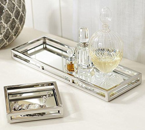 Le Raze Beautiful Mirrored Tray With Chrome Rails Elegant