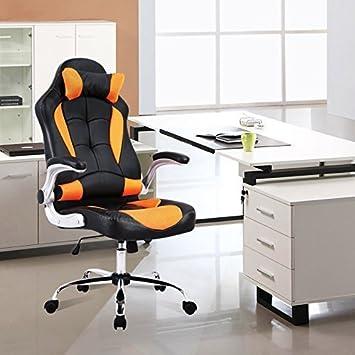 UEnjoy Fauteuil Pivotant Chaise De Bureau Noir Et Orange Chair Avec Oreiller PU Siege Hauteur Reglable