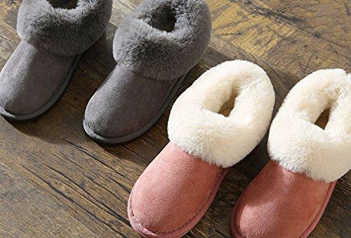 Cattior Womens Foderato Di Pelliccia Caldo Esterno Pantofole Casa Scarpe Rosa