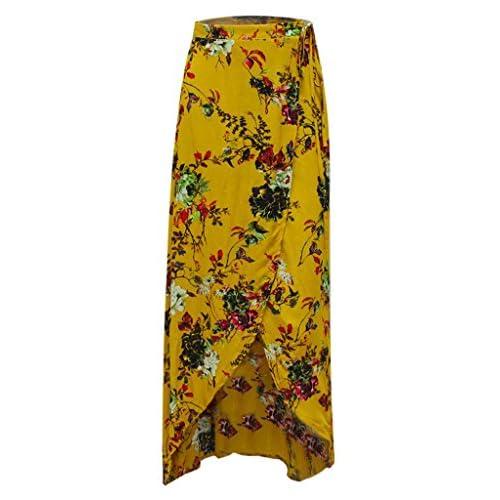 3c524d228f PERSUN Womens Dark Blue Elephant Tribal Self Tie High Waist Boho Maxi Skirt  well-wreapped
