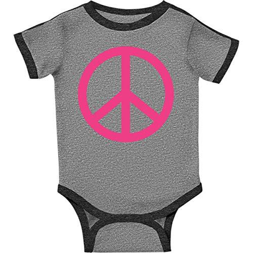 inktastic - Pink Peace Sign Infant Creeper Newborn Ringer Heather and Smoke 57da