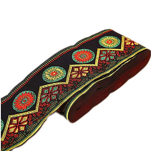 7 Yards Sunrise Sunset on The Moutain Jacquard Ribbon Suzani Floral Embroidered Woven Trim for Embellishment Craft Supplies (2inch, Black)