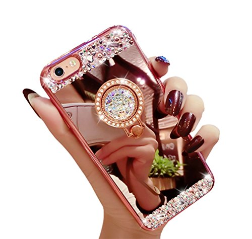 Dreams Mall(TM)Apple iPhone 6plus/6s plus 5.5inch,Mirror Effet with Shining Diamonds Soft Case Cover Shell Coque Protection,Rose Gold