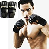KLY - Black PU Half Mitts MMA Muay Thai Training Punching Sparring Boxing Gloves Training Glove for Adult