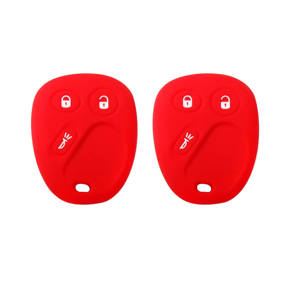 Red BAR Autotech Remote Key Silicone Rubber Keyless Entry Shell Case Fob and Key Skin Cover 3 Buttons Fit For GMC Cadillac Escalade Chevrolet Avalanche GMC Sierra Yukon Hummer Saturn