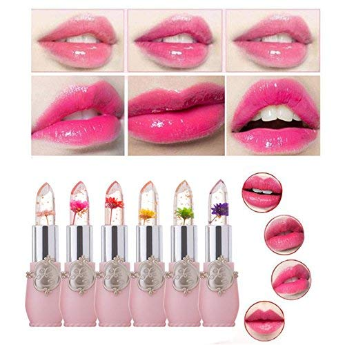 Petansy Flower Lipstick Set Jelly Moisturizer Lip Balm Waterproof Long Lasting Lipstick Cosmetics Lip