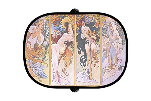 Four seasons (Alphonse Mucha) Poster 2Pcs Foldable Auto Window Sunshade - Sunshades Poster Print