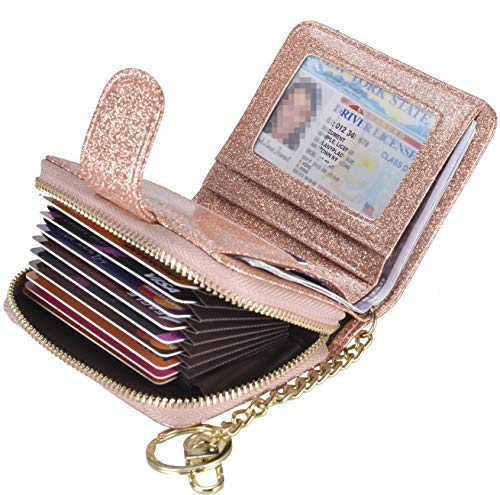 Beurlike Women's RFID Credit Card Holder Organizer Case Leather Security Wallet (Upgrade a (10 Accordion/Key Ring) - Glitter Gold)