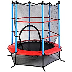 "Marketworldcup- Youth Jumping Round Trampoline 55"" Exercise W/ Safety Pad Enclosure Combo Kids US Stocks & Warranty! Best Quality !Fastest Shipping !"
