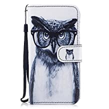 """iPhone X Case, iPhone X Cover, Alfort Painting Phone Case Cover Fashion Design Dual-Use Flip Fold Premium PU Leather Book Wallet Style Case Stand Cover Stand Function with Automatic Magnetic Closure for iPhone X 4.7"""" Smartphone Image Owl with Eyeglasses"""