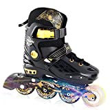 YF YOUFU Adjustable Rollerblades for Kids and Adults, Inline Roller Skates with Triple Protection, Front Foot Shield, Hard and Strong PU Wheels, Light-up Wheel on Front for Girls and Boys