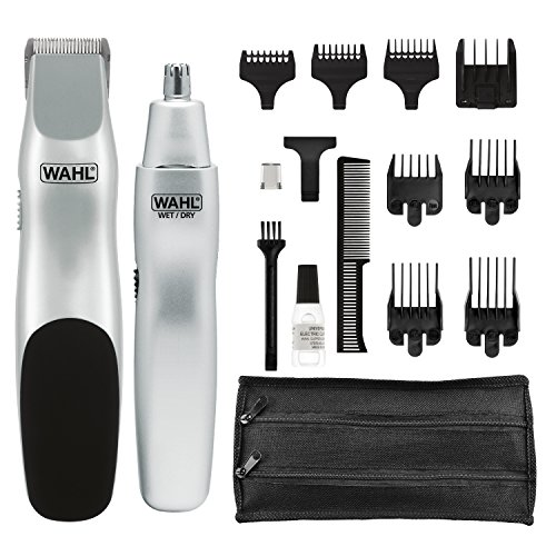 Wahl Groomsman Battery Powered Beard & Mustache Trimmer with Bonus Nose Trimmer 05621 Cordless Electric Beard Trimmer with Bonus Nose Hair Trimmer
