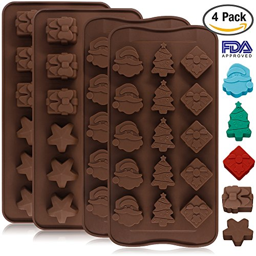 4 Pack Silicone Chocolate Candy Molds Trays, DanziX Baking Jelly Molds, Cake Decoration, with Shapes of Star, Gift Box, Christmas Tree, Santa Head - 2 Types (Candy Mold Santa)