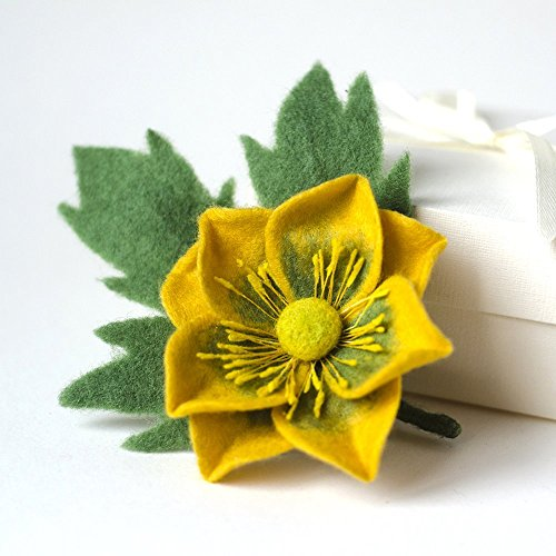 (Handmade Yellow Flower Brooch Anemone Felted Pin Green Jewelry Floral Broach Unique gift for Woman Gift idea for Girlfriend Birthday gift idea for Wife Statement Boho Rustic Jewelry Teachers Gift )