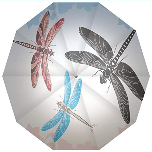 - Compact Travel Umbrella UV Protection Auto Open Close Dragonfly,Exotic Dragonflies Flying in Cloud Sky Animal Wing Nature Illustration Windproof - Waterproof - Men - Women -Lightweight- 45 inches